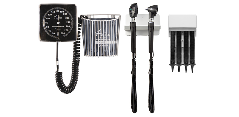 Direct-mount diagnostic station, otoscope ophthalmoscope sets