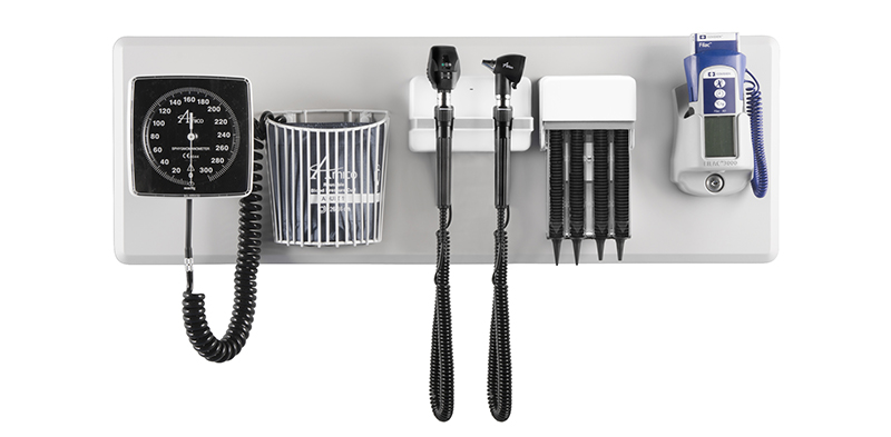 Wallboard diagnostic station, otoscope ophthalmoscope sets