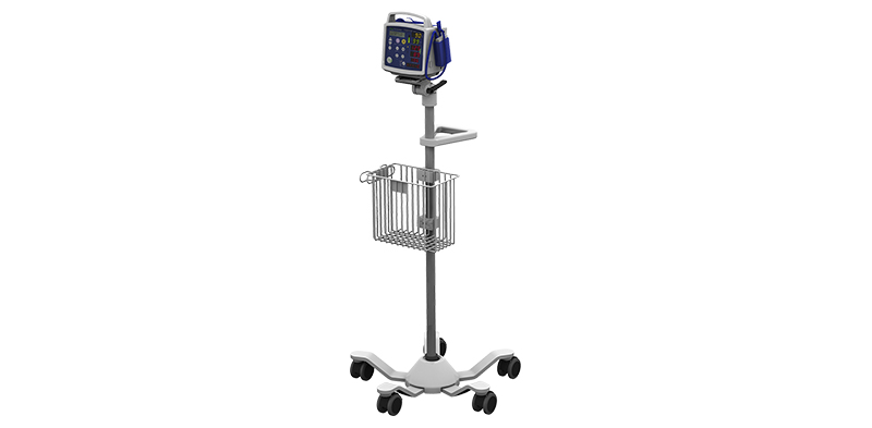Criticare 506DN3 and Cable/Patient Leads on Roll Stand